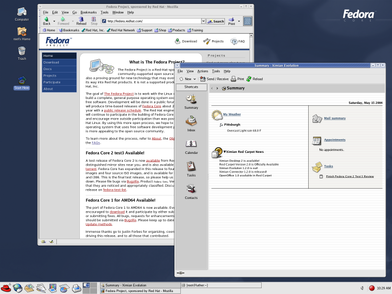 Figure 2. The new Fedora desktop.