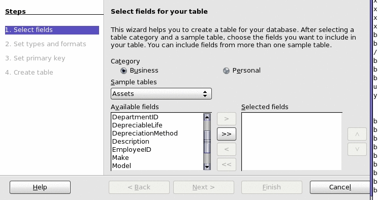 Figure 7: Creating tables in Base