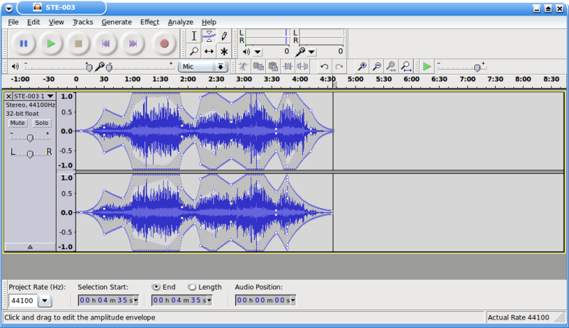 Figure 4: Using Audacity's Envelope Tool