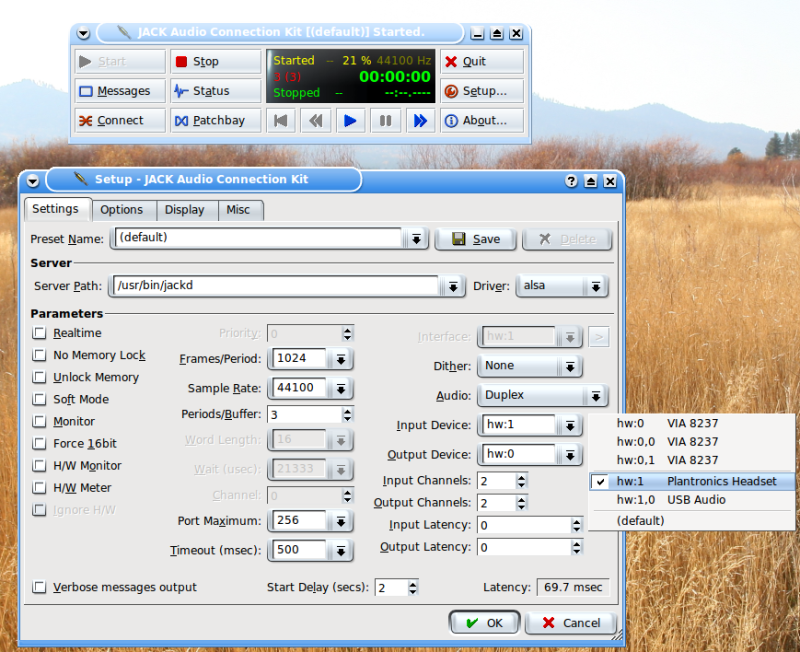 Figure 4: The JACK Setup Dialog Box