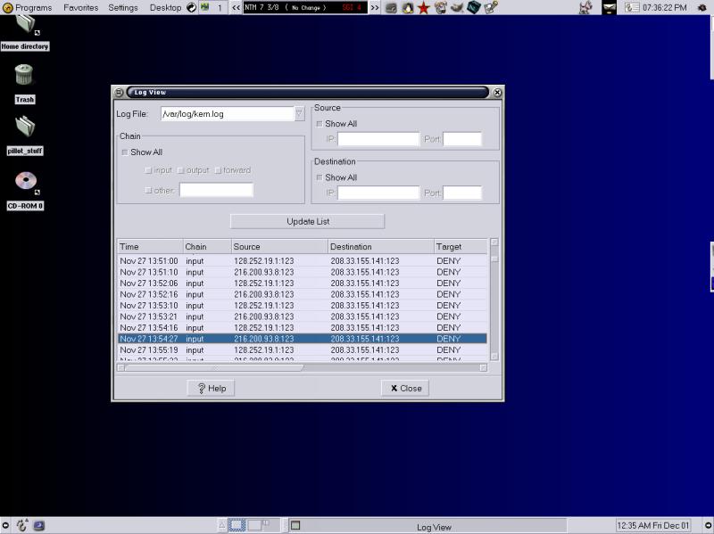 Storm Firewall logging portscans