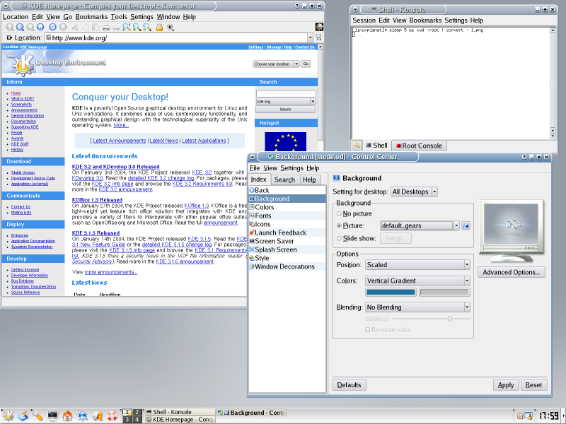Figure 2. KDE apps in action.