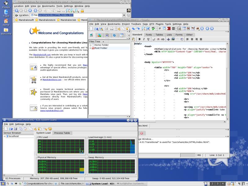 Figure 4. Assorted apps on the Mandrake desktop.