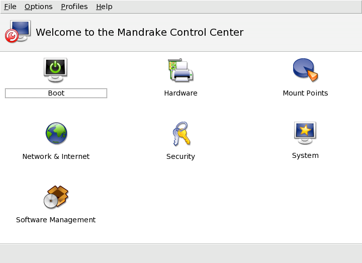Figure 2. Mandrakelinux Control Center.