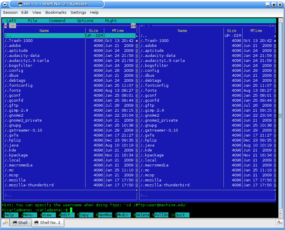 Midnight Commander, the powerful ncurses-based file manager
