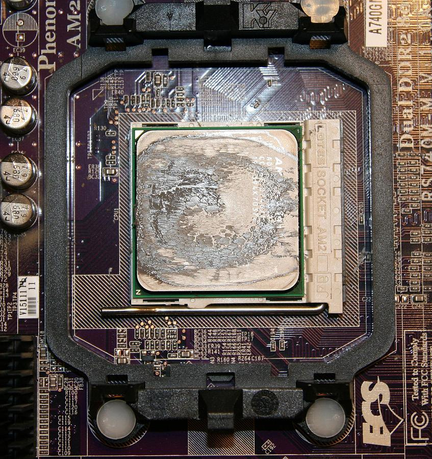 Old gummy CPU with the heatsink removed