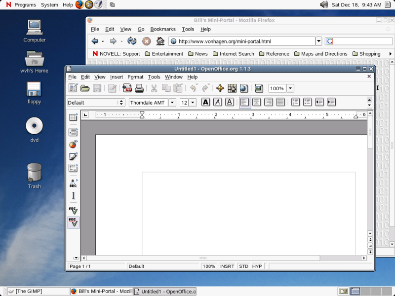 Figure 5: The GNOME Desktop on Novell Linux Desktop 9.0.