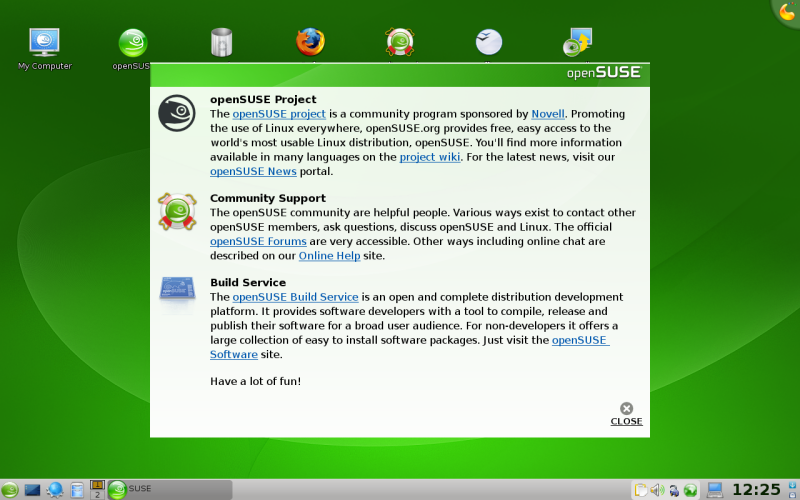 Figure 3: Welcome To openSUSE