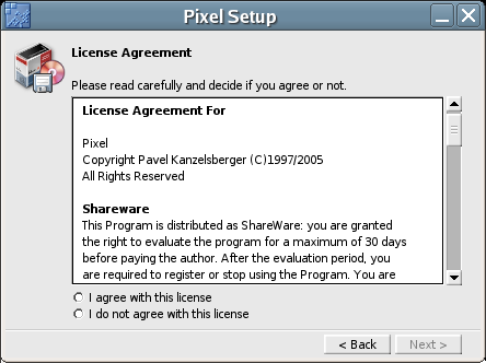 Figure 2: The Pixel Setup License Agreement dialog box.