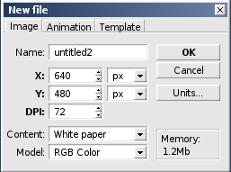 Figure 5: The Pixel image editor's New File dialog box.