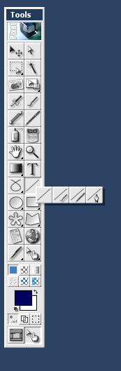 Figure 7: The line button expanded from the Tools box.