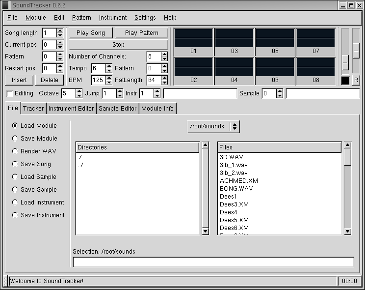 Figure 1. SoundTracker with the File tab displayed.