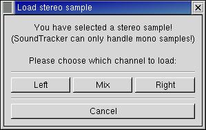 Figure 2. The Load stereo sample dialog in SoundTracker.