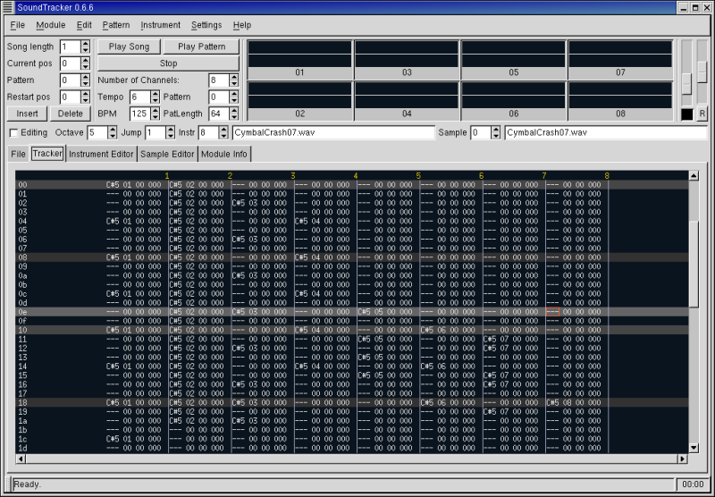 Figure 5. The Tracker window with Final.xm displayed.