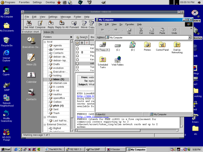 WinaXe allows the Windows desktop and X window managers to coexist side by side.