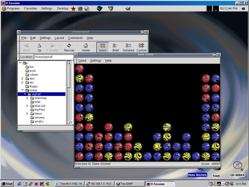 WinaXe can run an X session in its own window (shown) or in fullscreen mode.