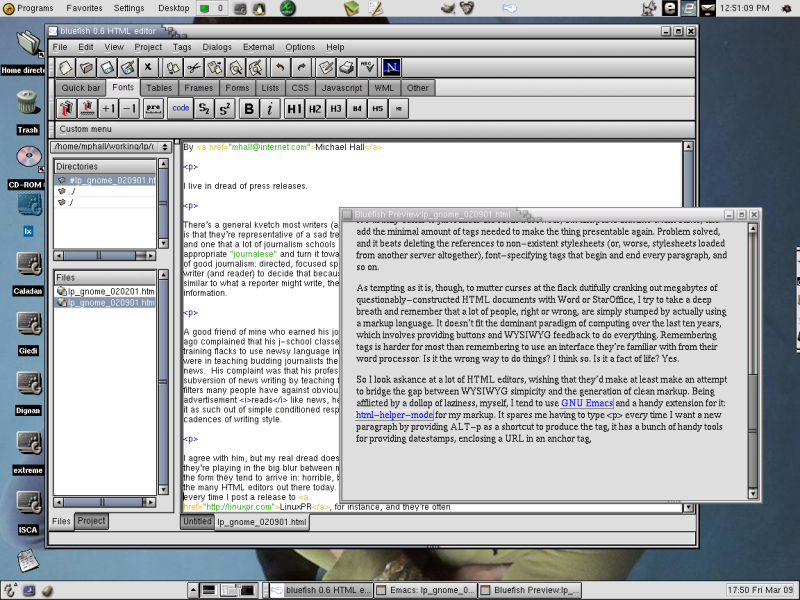 Bluefish has a preview feature that allows a quick check of documents without loading a whole browser.