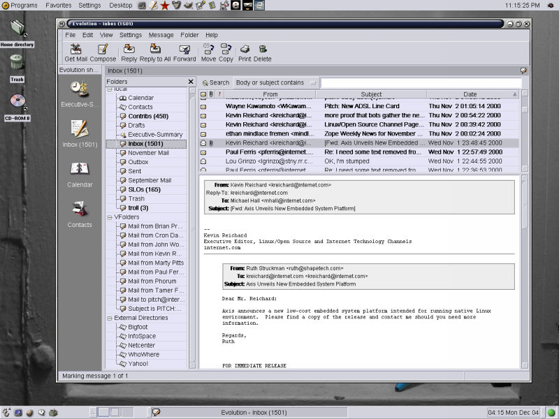 Evolution's rendering makes it easy to sort out forwarded messages.  Need to see the headers?
