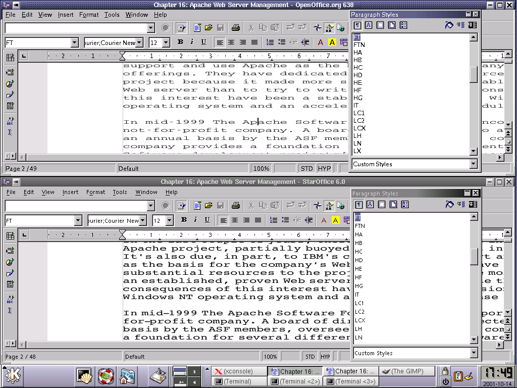 StarOffice 6.0 beta (bottom) handlesfonts a little better than OpenOffice build 638 (top)