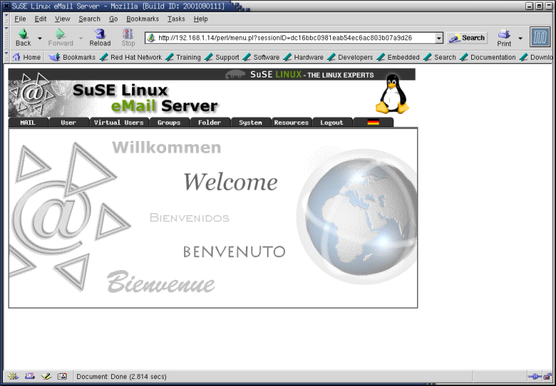 Figure 2. The SuSE Linux eMail Server III welcome screen.