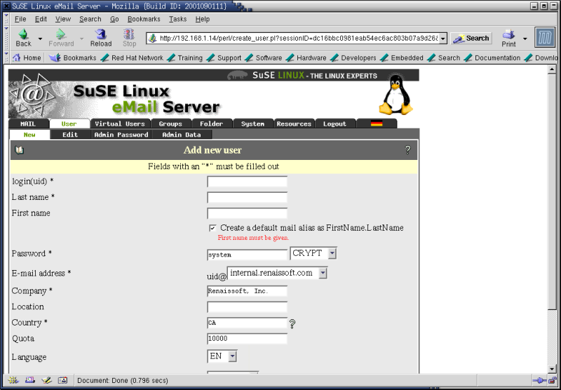 Figure 5. The SuSE Linux eMail Server III New user account creation section.