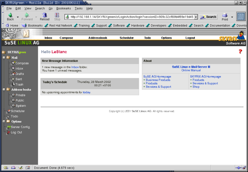 Figure 6. The SuSE Linux eMail Server III Webmail interface.