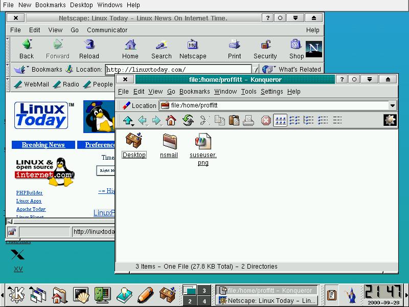The new KDE2 desktop in SuSE