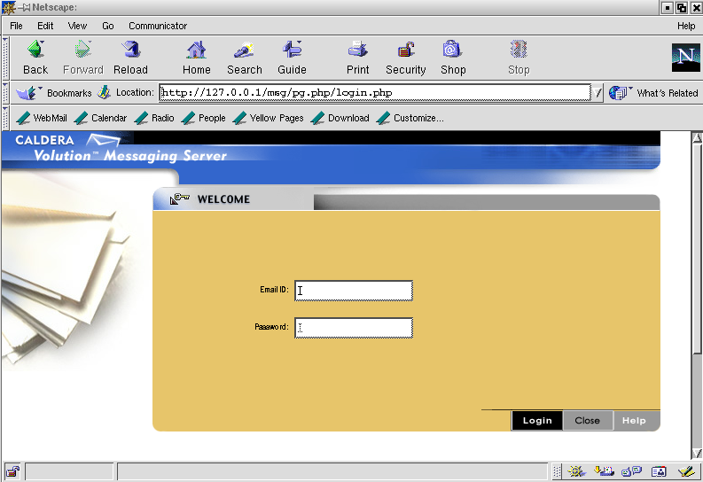 Figure 1 Volution Messaging Server's login screen.