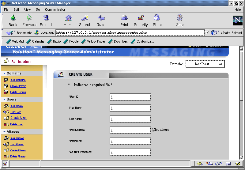 Figure 3: The Volution Messaging Server Create User screen.
