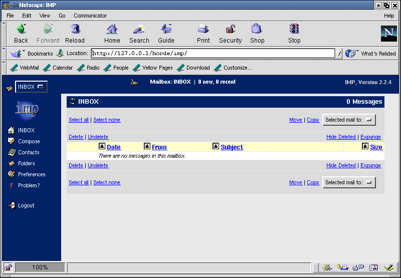 Figure 4: The Volution Messaging System Webmail interface.