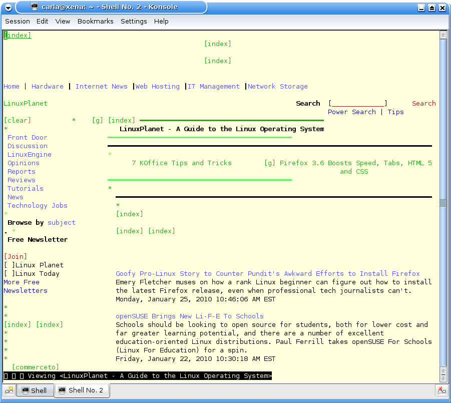 w3m, the ncurses Web browser. It take the same colors as your X terminal