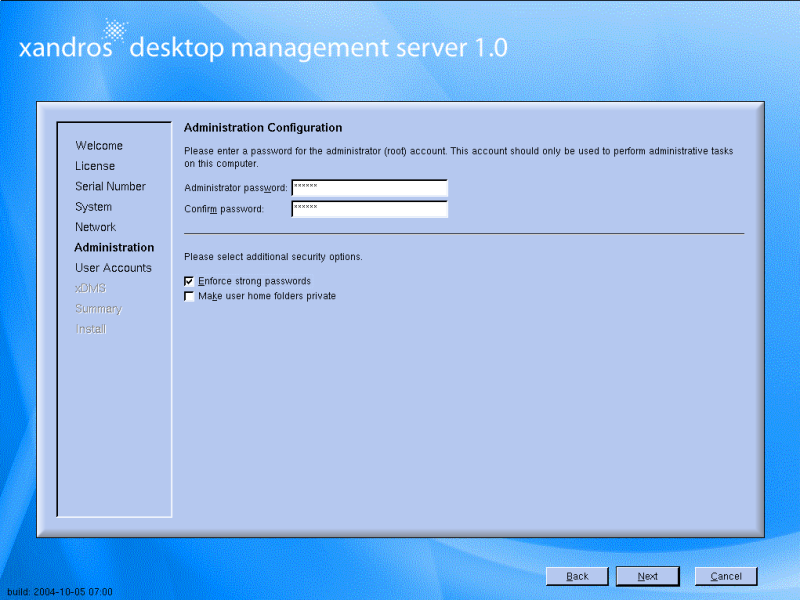 Figure 1: Setting admin options during installation.