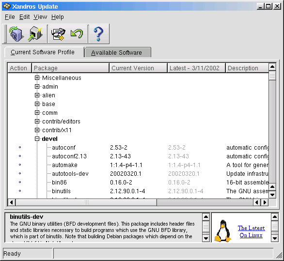 Figure 1. The Xandros Update application.