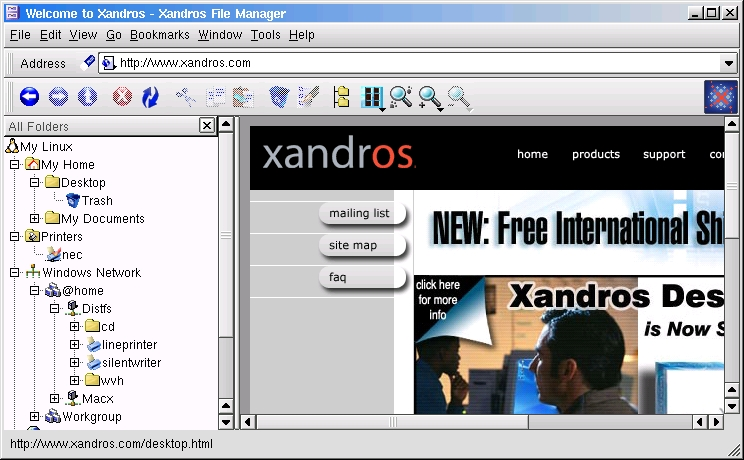 Figure 2. The Xandros File Manger