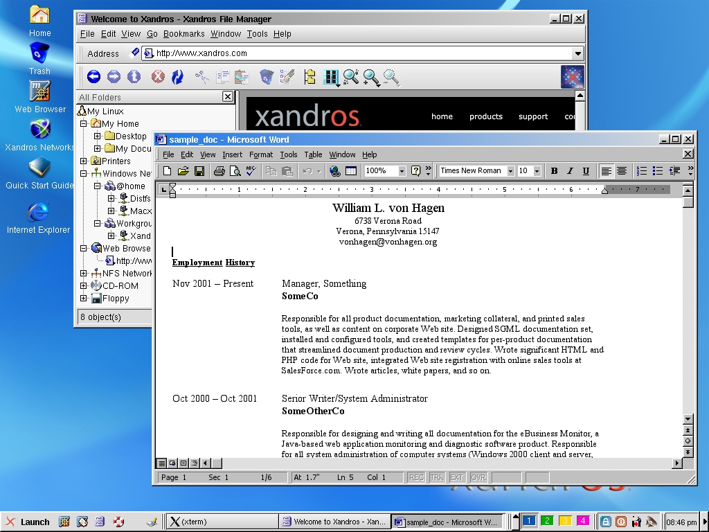 Figure 3. The Xandros Desktop running Word 2000.